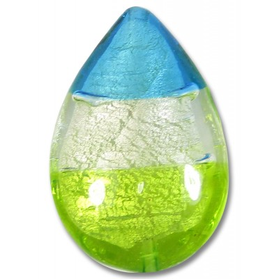 1 Murano Glass Lime Clear and Dark Aqua White Gold Foiled Large Pear Drop