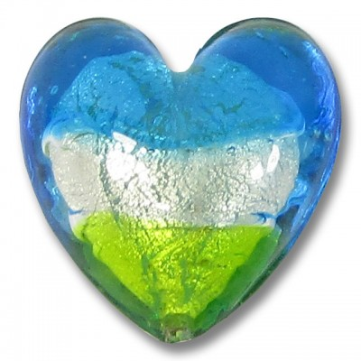 1 Murano Glass Lime Clear and Dark Aqua White Gold Foiled 20mm Heart Bead