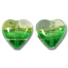 Pair 14mm Murano Glass Emerald Green White Gold Foiled Band Hearts