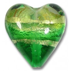 1 Murano Glass Emerald Green White Gold Band Foiled 20mm Heart