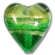 1 Murano Glass Emerald Green White Gold Band Foiled 20mm Heart