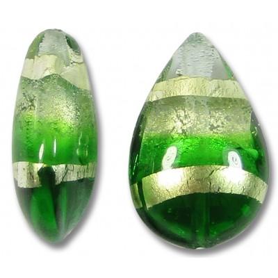 1 Murano Glass Emerald Green White Gold Foiled Band Small Pear Drop