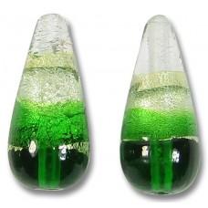 1 Murano Glass Emerald Green White Gold Foiled Band Small Drop