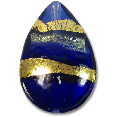 1 Murano Glass Sapphire  Gold Foiled Band Large Pear Drop