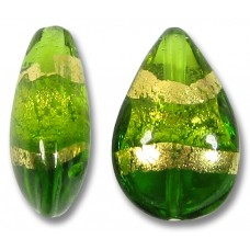 1 Murano Glass Erba Green Gold Foiled Band Small Pear Drop