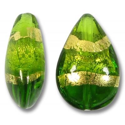 1 Murano Glass Erba Green Gold Foiled Band Small Pear Drop