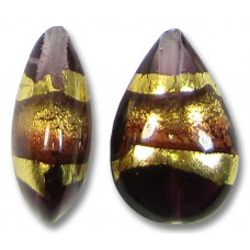 1 Murano Glass Amethyst Gold Foiled Band Small Pear Drop