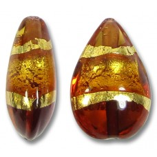 1 Murano Glass Topaz Gold Foiled Band Small Pear Drop