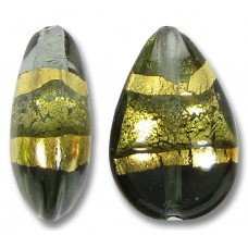 1 Murano Glass Black Diamond Gold Foiled Band Small Pear Drop