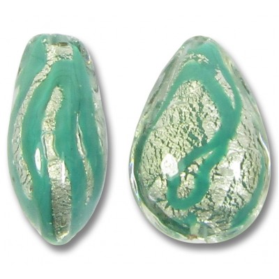 1 Murano Glass 20mm White Gold Foiled Turquoise Green Drizzle Drop Bead