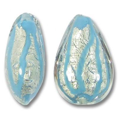 1 Murano Glass 20mm White Gold Foiled Turquoise Blue Drizzle Drop Bead