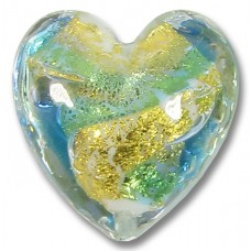 1 Murano Glass Aqua and Bluino Swirl Gold Foiled 20mm Heart