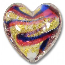 1 Murano Glass Ruby and Cobalt Swirl Gold Foiled 20mm Heart