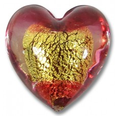 1 Murano Glass Rubino Goldfoiled 20mm Heart