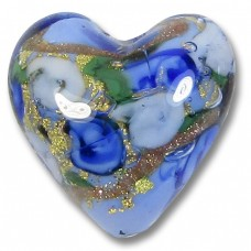 1 Murano Glass Amore Blue Goldfoil & Aventurine 20mm Heart