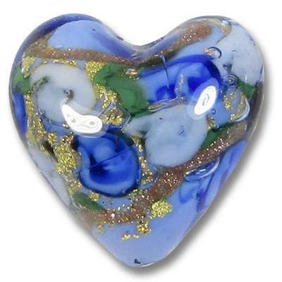 1 Murano Glass Amore Blue Goldfoil & Aventurine 20mm Heart
