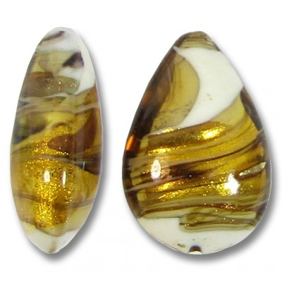 1 Murano Topaz Gingerbread Colour Swish Goldfoiled Small Pear Drop