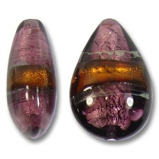 1 Murano Glass Amethyst and Topaz Silver Foiled Small Puffy Drop Bead