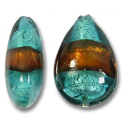 1 Murano Glass Verde Marino and Topaz Silver Foiled Small Pear Drop Bead