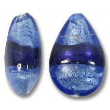 1 Murano Glass Bluino and Purple Velvet Silver Foiled Small Pear Drop Bead