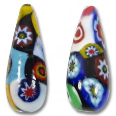 1 Murano Glass Classic Mosaic Millefiore Large Drop