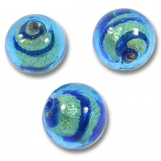 1 Murano Glass Goldfoiled Turquoise Velvet Sapphire 10mm Round Bead