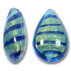 1 Murano Glass Goldfoiled Turquoise Velvet Sapphire Small Pear Drop Bead