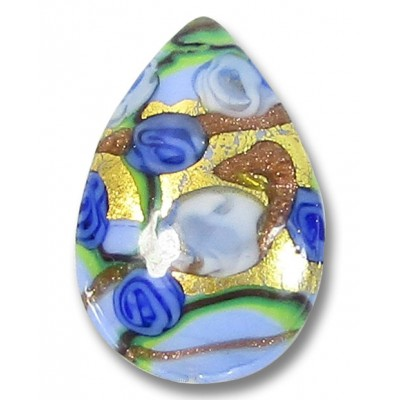 1 Murano Glass Amore Aquamarine and Sapphire Goldfoil 30mm Pear Drop
