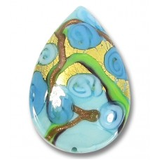1 Murano Glass Amore Aquamarine Goldfoil 30mm Pear Drop