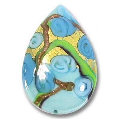 1 Murano Glass Amore Aquamarine Goldfoil 28mm Pear Drop