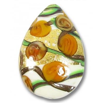 1 Murano Glass Amore Topaz Goldfoil 30mm Pear Drop