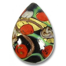 1 Murano Glass Amore Black & Red Goldfoil & Aventurine 30mm Peardrop