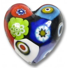 1 Murano Glass Classic Mosaic Millefiore 20mm Heart Bead
