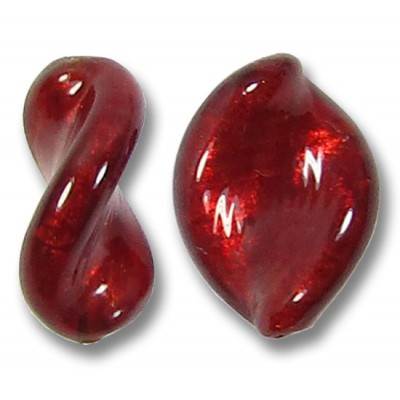 2 Murano Glass Dark Ruby Gold Foiled Elica Twist Beads