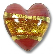 1 Murano Glass Cinnabar Red with Topaz 24kt Goldfoil 20mm Heart