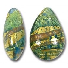 1 Murano Glass Dark Aquamarine and Aventurine Ripple Gold Foiled Small Pear Drop