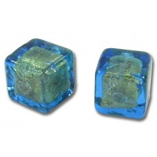 2 Murano Glass Kingfisher Goldfoil 8mm Cube Beads