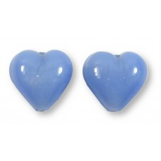 Pair Murano Glass White Gold Foiled Periwinkle Blue Satin 14mm Hearts