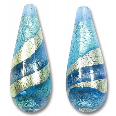1 Murano Aquamarine and Sapphire Ripple White Gold Foiled Large Drop