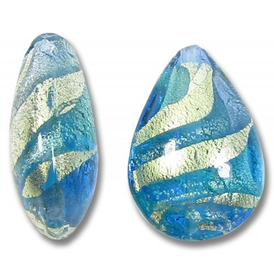 1 Murano Aquamarine and Sapphire Ripple White Gold Foiled Small Pear Drop