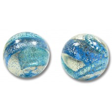 1 Murano Aquamarine and Sapphire Ripple White Gold Foiled 12mm Round Bead