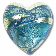 1 Murano Aquamarine and Sapphire Ripple White Gold Foiled 20mm Heart