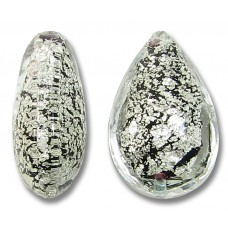 1 Murano Glass Crackle White Gold Foiled Black Small Pear Drop