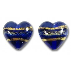 Pair 14mm Murano Glass Sapphire Gold Foiled Band Hearts