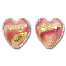 2 Murano 24kt Gold Foil Rose and Alabaster Pink Heart Beads