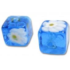 Pair Murano Glass Aquamarine Millefiore Millefiore 8mm Cube Beads