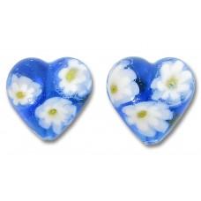 Pair Murano Glass Aquamarine Millefiore 14mm Heart Beads