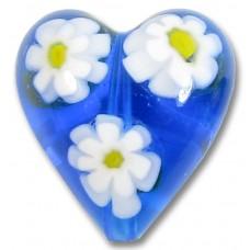 1 Murano Glass Aquamarine Millefiore 20mm Heart Bead