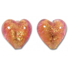 2 Murano Glass Rose Gold Foiled 10mm Heart Beads