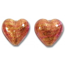 2 Murano Glass Rose Gold Foiled 14mm Heart Beads